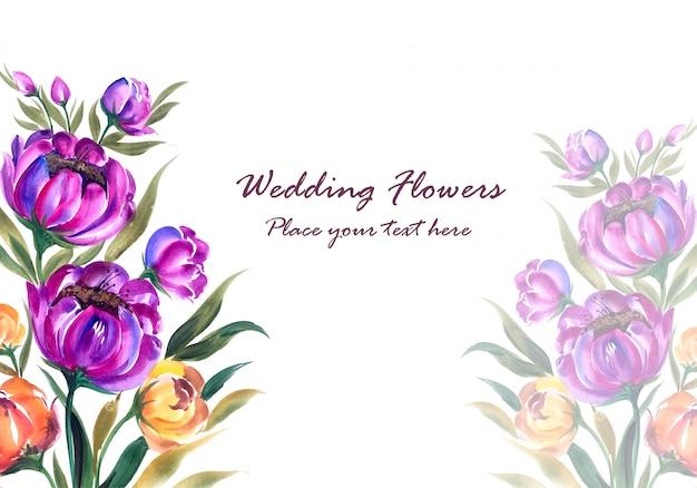 Cadre floral décoratif d'anniversaire de mariage pour carte de voeux