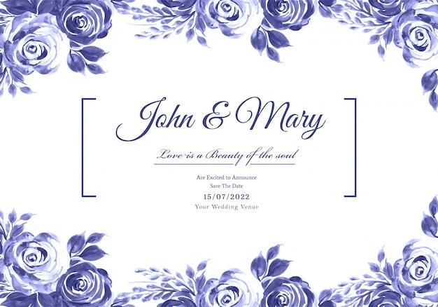 Cadre floral décoratif anniversaire de mariage