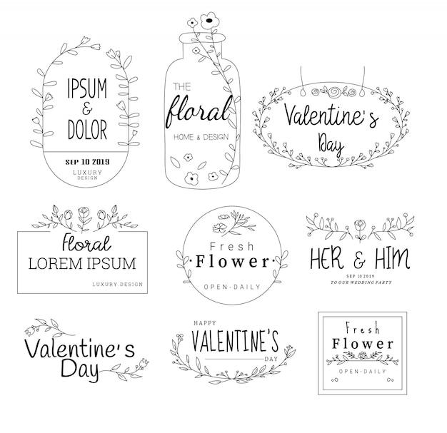 Cadre floral défini pour mariage, magasin de fleurs, style dessiné à la main