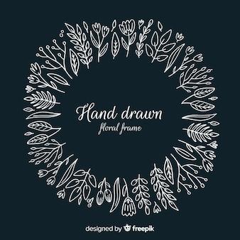 Cadre floral dessiné à la main