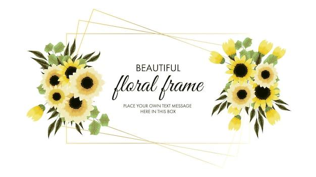 Cadre floral doré de fleurs jaunes dans un style détaillé pour les promotions d'annonces de vente sur les réseaux sociaux
