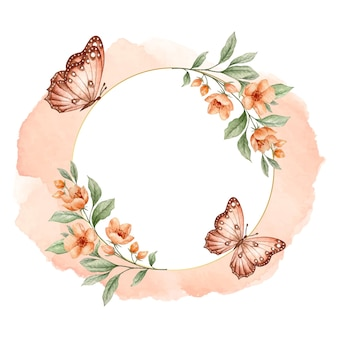Cadre floral doré de luxe avec des papillons