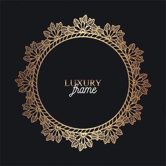 Cadre floral doré de luxe