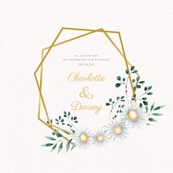 Cadre floral doré de mariage