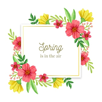 Cadre floral doré printemps aquarelle