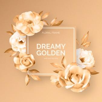 Cadre floral doré rêveur