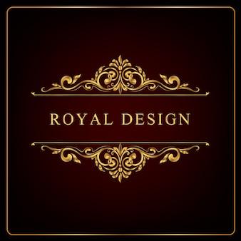 Cadre floral doré royal, tourbillons d'ornement royal et vintage
