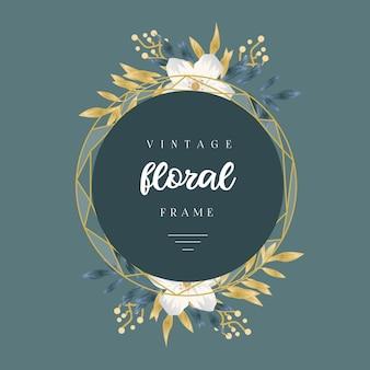 Cadre floral doré vintage