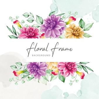 Cadre floral élégant avec des fleurs à l'aquarelle