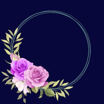 Cadre floral élégant pour invitation d'ornement
