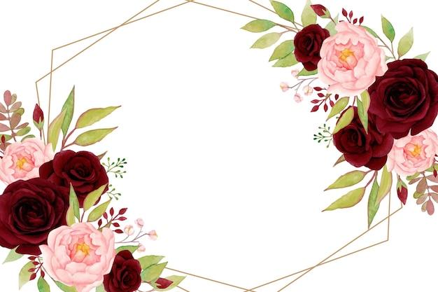 Cadre floral élégant avec des roses rouges et des pivoines