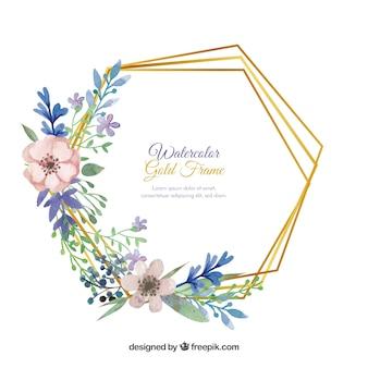 Cadre floral élégant avec style aquarelle