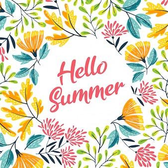 Cadre floral d'été mignon