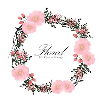 Cadre floral avec fleur rose.