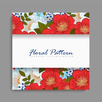 Cadre floral avec une fleur rouge et bleue.