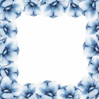 Cadre floral avec des fleurs d'anémone bleue