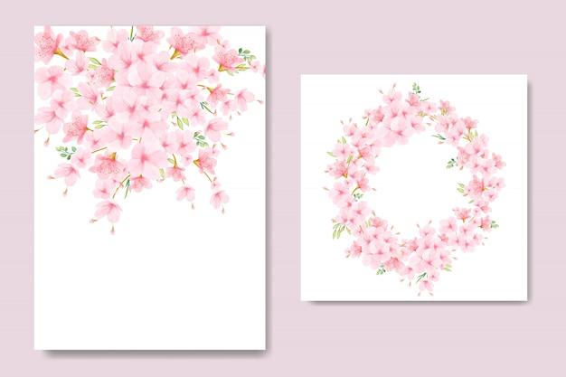Cadre floral fleurs de cerisier