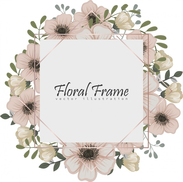 Cadre floral avec des fleurs colorées.