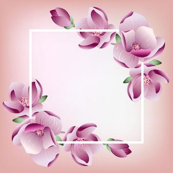 Cadre floral avec des fleurs de magnolia en fleurs roses