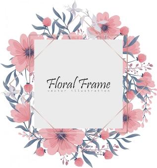 Cadre floral avec des fleurs roses et bleues.
