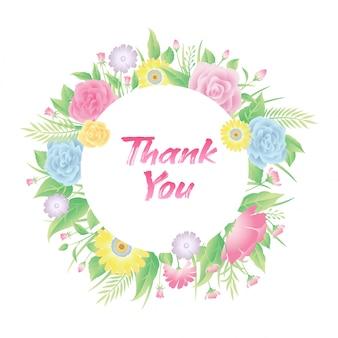 Cadre floral fleurs roses, feuilles et herbe avec texte de remerciement