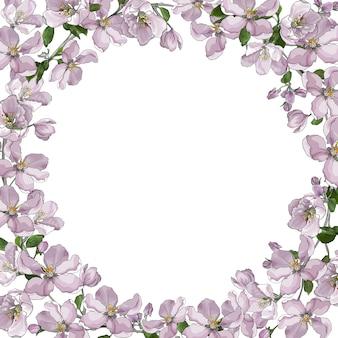 Cadre floral avec fleurs sakura, fleur de pommier.