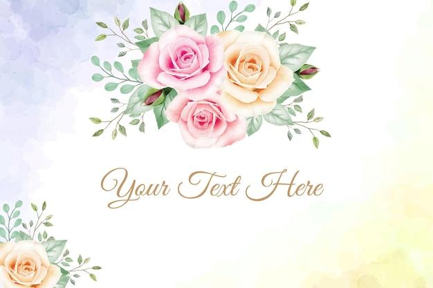 Cadre floral fond aquarelle