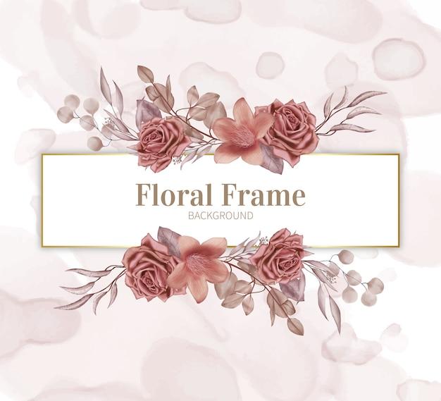 Cadre floral avec fond aquarelle