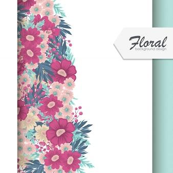 Cadre floral avec fond de fleurs colorées
