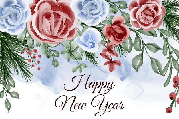 Cadre floral avec fond rose rouge bleu thème hiver nouvel an