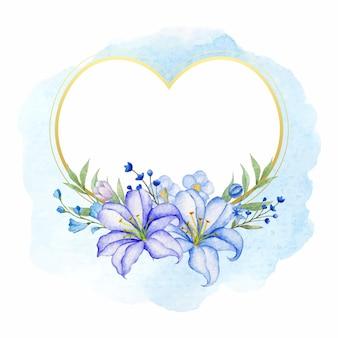 Cadre floral en forme de coeur doré pour carte de voeux saint valentin