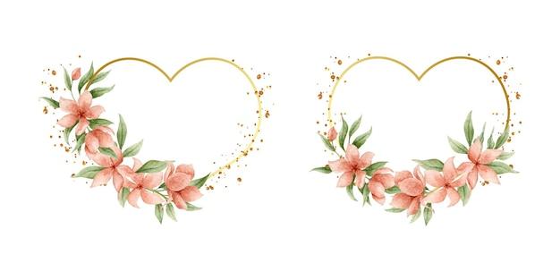 Cadre floral en forme de coeur doré