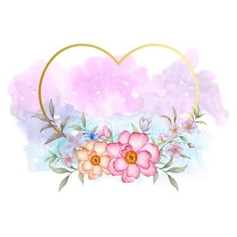 Cadre floral en forme de coeur pour carte de voeux saint valentin