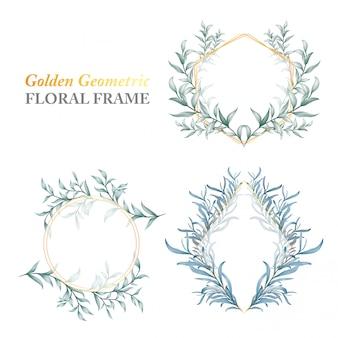 Cadre floral géométrique doré de feuilles sauvages