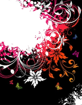 Cadre floral grunge avec des papillons pour la conception, illustration vectorielle