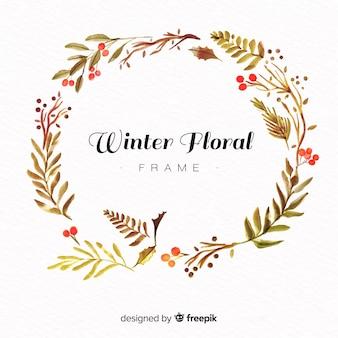 Cadre floral d'hiver
