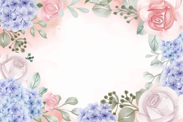 Cadre floral hortensia fond bleu et rose
