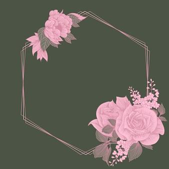 Cadre floral. illustration de couronnes et de bouquets