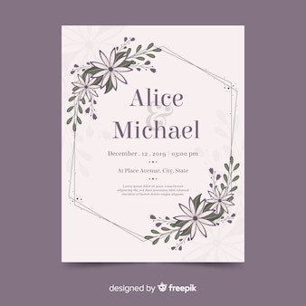 Cadre floral invitation de mariage avec design plat