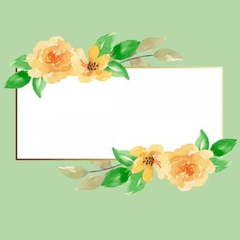 Cadre floral jaune aquarelle