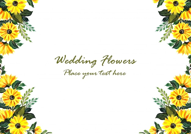 Cadre floral jaune décoratif de mariage