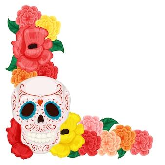 Cadre floral avec une jolie tête de mort mexicaine, une rose et un hibiscus