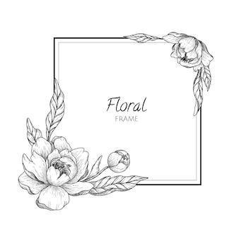 Cadre floral linéaire dessiné à la main vintage