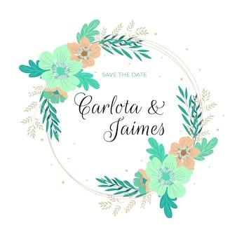 Cadre floral de mariage de couleurs pastel bleu et rose