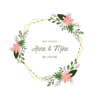 Cadre floral de mariage doré