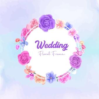 Cadre floral de mariage avec fleur aquarelle colorée