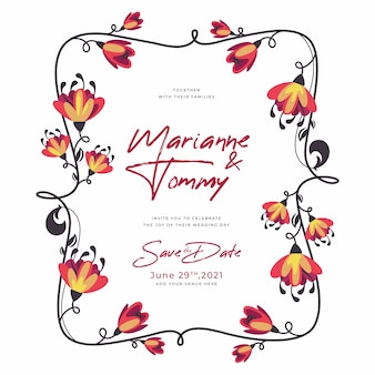 Cadre floral de mariage multicolore