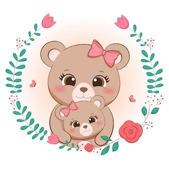 Cadre floral mignon maman ours
