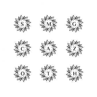 Cadre floral avec modèle de logo de lettre