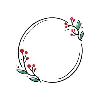 Cadre floral de noël avec cercle, forme ronde. cadre de couronne de style dessiné à la main doodle. illustration vectorielle pour noël, décoration de mariage.